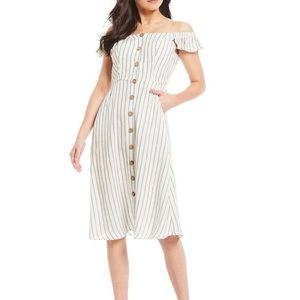 Sequin Hearts Striped Button Up Midi Dress